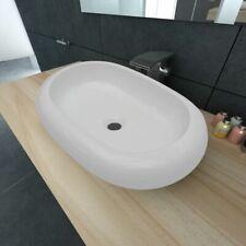vidaXL Ceramic Basin Oval White 63x42x12cm Bathroom Sink Countertop Fixture