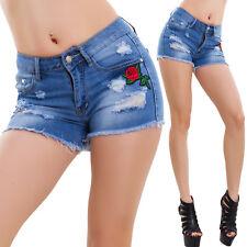 Pantaloncini donna jeans shorts tagliati Rosa pinup hotpants sexy nuovi F005