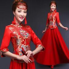 Vintage Womens Chinese Style bride red wedding Long dress 2 pcs set cheongsam US
