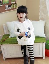 New Toddler Infant Girls Outfits Panda Coat +Striped Pants Kids Clothes Set 2pcs