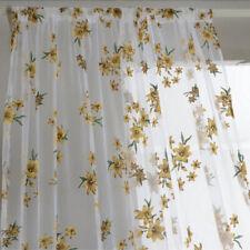 Kitchen Window Curtain Set Sheer Valance Scarf Tier Panel Vine Embroidered AA