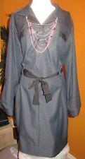 TAHARI $158  NWT 20W 22W 24W indigo blue denim women's dress long sleeve