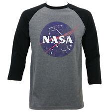 Authentic NASA Distressed Logo Raglan Baseball T-Shirt Heather Grey S-2XL NEW