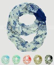 Floral Print Flower Leaf Block Circle Loop Wrap Infinity Scarf Multi Color Soft