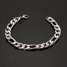 Silver Gun Black Stainless Steel Men's Chain Bracelet Wristband Cuff Punk Bangle