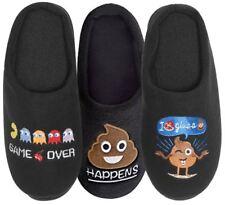 Mens Novelty Mule Slippers Emoji Gaming Designs Shoe Sizes 7-12 Gift
