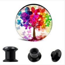 PAIR Artistic Tree of Life Ear Gauges Ear Plug Flesh Tunnel Acrylic SCREW 6g +