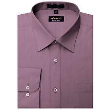 Mens Dress Shirt Plain Violet Purple Modern Fit Wrinkle-Free Cotton Blend Amanti