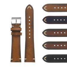 DASSARI Vintage Hand-Stitched Mens Leather Watch Band - Quick Release Strap