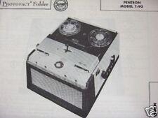 Pentron T-90 Tape Recorder Photofact Photofacts