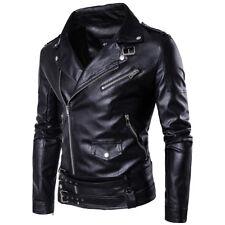 Men's Lapel PU Leather Jackets Punk Biker Coat Motorcycle Slim Outerwear Jacket
