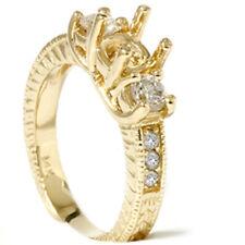 Vintage 3/4ctThree Stone Diamond Engagement Setting 14K Yellow Gold