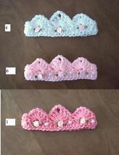 U CHOOSE! Pearl & Flower Crochet BABY TIARA CROWN Headband girl USA PHOTO PROP