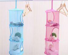 Three Layer Foldable Basket Laundry Toys Baskets Storage Hanging Mesh Bag QK