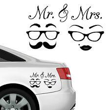"""10786 Wandtattoo Loft Autoaufkleber """"Mr & Mrs"""" Brille Schnurrbart Hochzeit Liebe"""