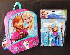 "DISNEY FROZEN ANNA & ELSA 16"" Full-Size Multi-Pocket Backpack &School Supply Set"