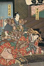 Samurai and Musician 15x22 Hand Numbered Japanese Print by Kunisada Asian Art