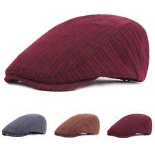 Unisex Men Women Warm Striped Cabbie Driving Cap Adjustable Casual Beret Hat