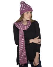 Donna Grosso all'uncinetto FASHION winter set Pom Pom Cappello Beanie stile e Sciarpa