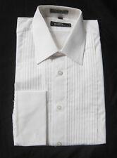 New White Mens Medium Laydown Collar Pleated Tuxedo Shirt Mason Wedding Knights