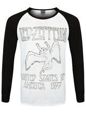 DEL Zeppelin USA 77 Hommes Noir & Blanc à Manches Longues Baseball Raglan T-Shirt
