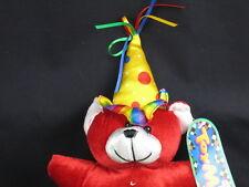 "BIRTHDAY RED TEDDY BEAR POLKADOT PARTY HAT SOFT PLUSH STUFFED ANIMAL TOY 11"""