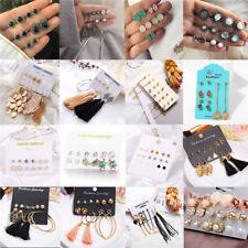 12Pairs/Set Fashion Rhinestone Crystal Pearl Earrings Set Women Ear Stud Jewelry