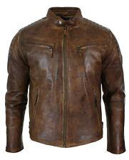 Mens Retro Zipped Biker Jacket Real Leather Black/Brown Rub Off Vintage Style