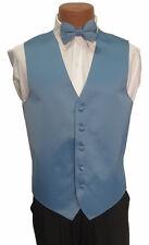 LL Mens Light Cornflower Blue Zelente Wedding Prom Fullback Tuxedo Vest w/ Tie