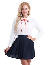 Japanese School Girl Uniform Cosplay Costume Women Long Sleeve Shirt&Skirt Set