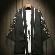 Men Embroidery Linen Kimono Jacket Cardigan Coat Outwear Japanese Ethnic Casual