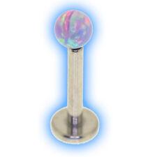 Titanium Internal Labret Pink Opal Ball Choose Ti colour and length 1.2mm 16g
