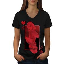 Queen of Heart Red Casino Women V-Neck T-shirt NEW   Wellcoda