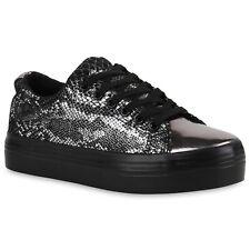 Damen Sneakers Plateau Sneaker Metallic Lack Sportschuhe 815353 Schuhe