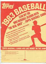 1983 Topps Baseball Cards  Selling sheet  sales sheet vendor info rare    MBX80