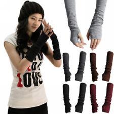 Women's Winter Elbow Long Fingerless Gloves Thumb Hole Arm Warmers Soft Girls
