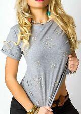 Sexy Miss Damen Kurzarm Shirt Glamour Strass Steinchen M 36 L 38 TOP grau NEU