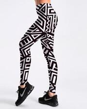 Woman elastic legging Black&White Geometry Printed legging S-4XL Slim Legging