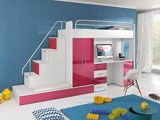 Fantastisch Etagenbett Hochbett Felix Hochglanz 2 X Bett Schrank Schreibtisch  Farbauswahl