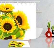 Sunflowers Waterproof Fabric Shower Curtain Liner+12 Hooks Bathroom Accessory