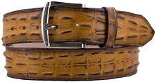 Men Rust Yellow Crocodile Alligator Pattern Leather Belt Silver Buckle