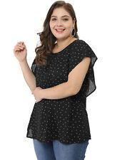 Agnes Orinda Women's Plus Size Chiffon Polka Dot Tank Top