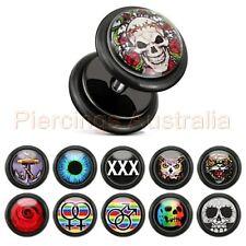 16G 6mm Fake Cheater Ear Plug Logo Body Piercing Jewellery CHOOSE SINGLE OR PAIR