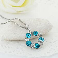 Halskette mit Anhänger Kette Silberkette Geschenk necklace Swarovski Element 1A