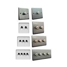 EUROLITE spazzolato satinato cromato lucido dimmer Switch 1 2 3 4 GANG PIASTRA IN ACCIAIO