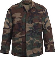 Mens Woodland Camouflage Military BDU Shirt Tactical Uniform Coat Army Fatigues