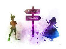 Impresión De Arte Alicia en el país de las Maravillas, Peter Pan, Pared Arte, Disney, señalar, Neverland