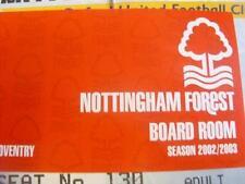 Nottingham Forest 18/01/2003 ticket: V Coventry City (sala del directorio). sin obvio F