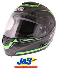 IXS HX 215 MOTORCYCLE HELMET FULL FACE MATT SUN VISOR MOTORBIKE BLACK GREEN J&S