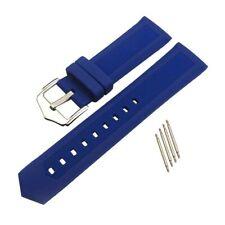 Blue Silicone Rubber Watch Band Buckle Wristwatch Strap Belt 16mm-22mm